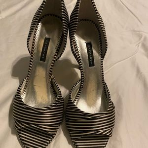 Caparros black and white stripe heels size 9.